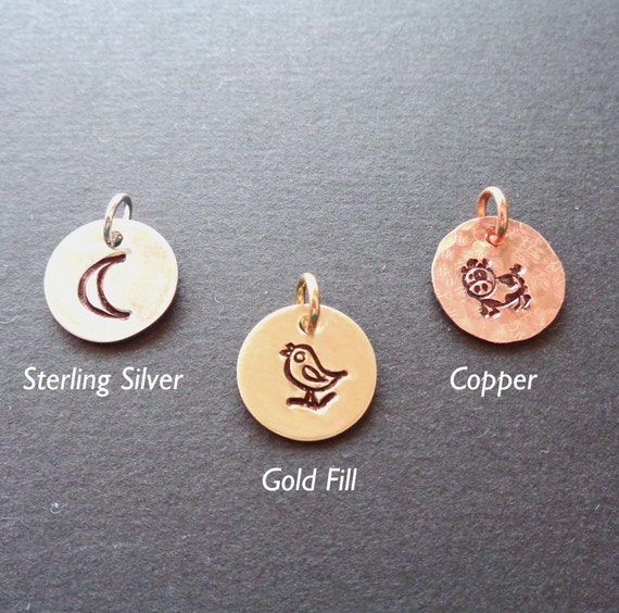 Add-on Design Stamp Charm- Copper Sterling Silver Gold Fill Charm- Moon Animals Bird Heart Design