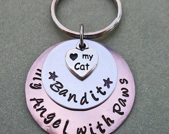 Cat Angel Pet Memorial Keychain - My Angel with Paws - Pet Loss Keychain - Cat Loss Gift - Pet Memorial Jewelry