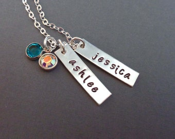Silver Bar Necklace with Crystal Birthstones / Gift for Nana / Mothers Necklace / Personalized Kids Names