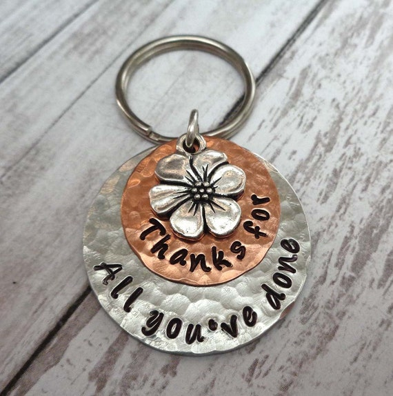 Thank you Gift - Thanks for Keychain - Personalized thank you message - Thanks for all you've done Custom Keychain