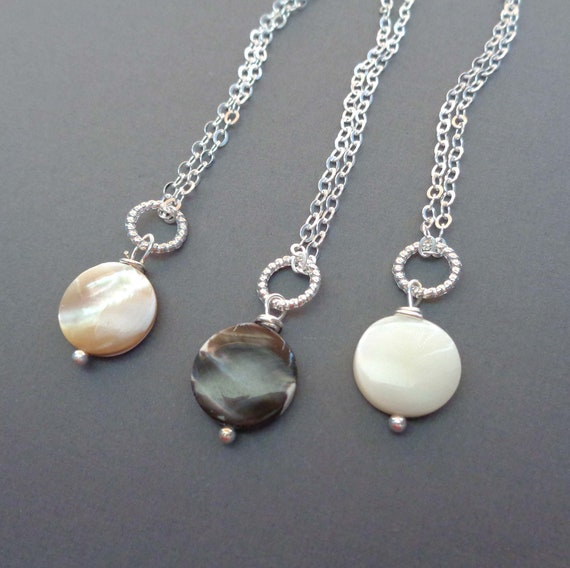 Dainty Mother of Pearl Necklace - Minimalist Mother of Pearl - Black Beige White Mother of Pearl Necklace Earring Set
