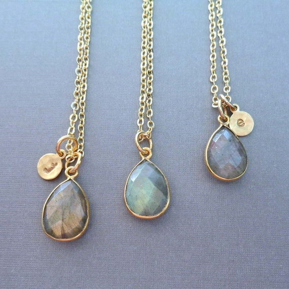 Personalized Labradorite Gold Necklace / Custom Initial / Labradorite Pear Gold Fill / Gemstone Necklace