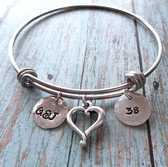 Anniversary Bangle Bracelet - Personalized Initials Date - Anniversary Wedding Gift - Adjustable Bangle Bracelet Silver Anniversary -B64