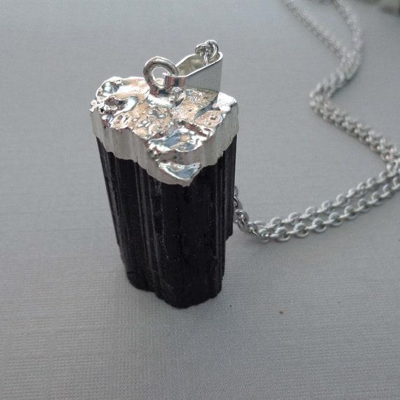 Raw Black Tourmaline Necklace / Small Tourmaline Pendant on Silver Chain / Protection Stone