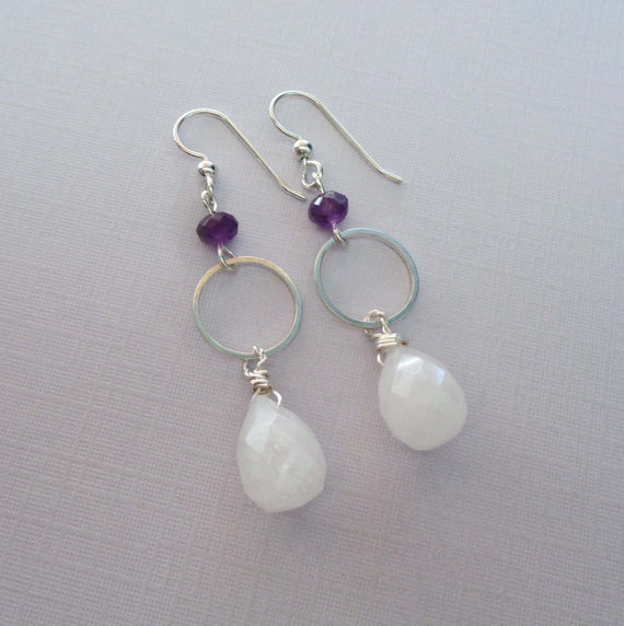 Rose Quartz Amethyst Hoop Earrings / Silver Rose Quartz Drops