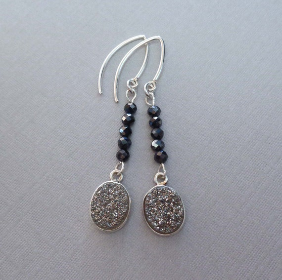 Platinum Gray Black Pyrite Earrings - Sparkly Earrings - Druzy Jewelry - Gray Evening Earrings