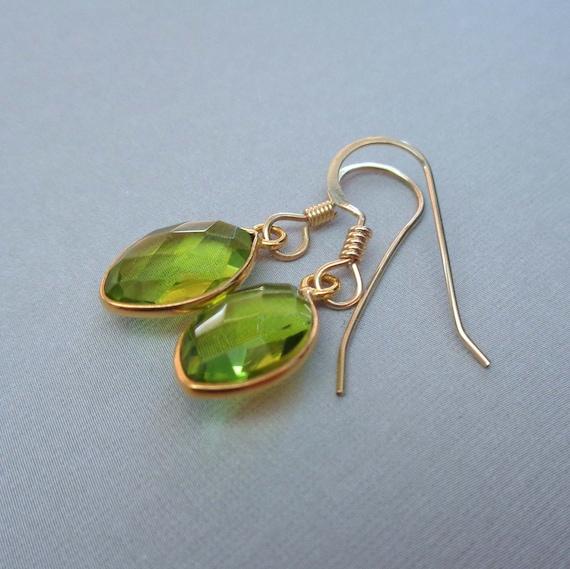Peridot Quartz Gold-Fill Earrings / August Birthstone Gift / Peridot Jewelry / Green Stone Earrings
