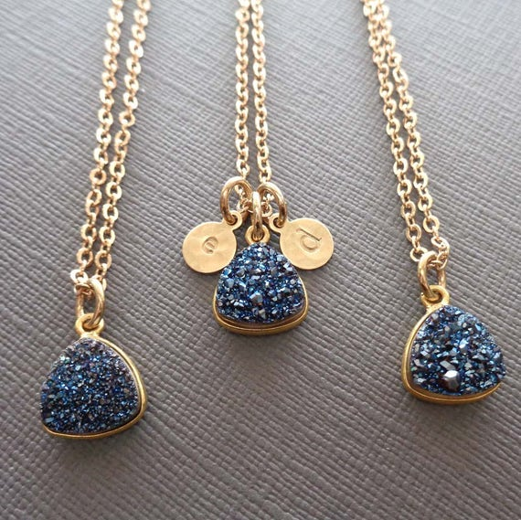 Blue Triangle Druzy Gold Initial / Gold and Blue Jewelry / Personalized Initial / Blue Wedding Bridesmaid Jewelry