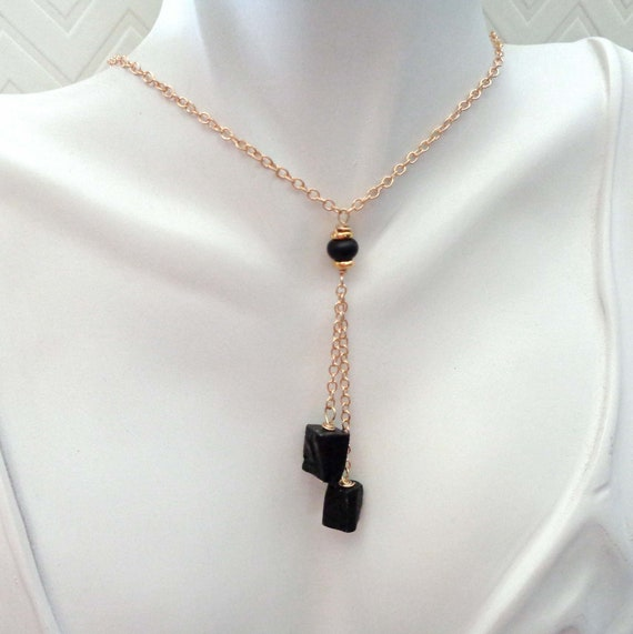 Dainty Protection Necklace / Black Tourmaline Onyx Drop / Tourmaline Jewelry / Grounding Protection Stone