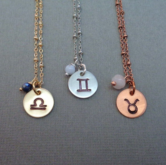Small Zodiac Necklace / Your Sign Stone Necklace / Astrology Jewelry / Silver Gold Copper Zodiac Jewelry