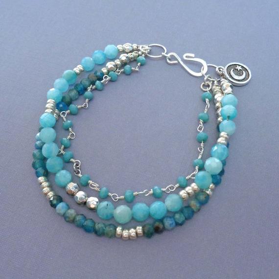 Blue Apatite Amazonite Triple Strand Bracelet / Blue Stones Bracelet / Summer Resort Wear / Healing Blue Stones