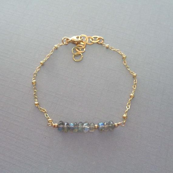 Dainty Labradorite Bar Bracelet / Gold-Fill Labradorite Jewelry / Transformation Crystal / Dainty Crystal Bracelet