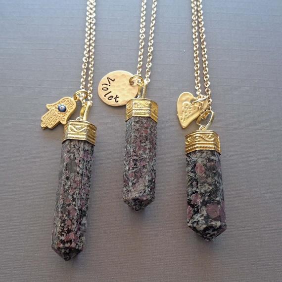Spinel in Matrix Pendant Necklace / Grounding Stone / Custom Name / Heart Charm / Hamsa Black Spinel