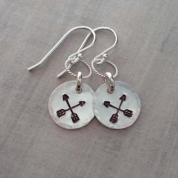 Sterling Silver Arrows Earrings / Friendship Earrings / Hand Stamped Crossed Arrows Gift