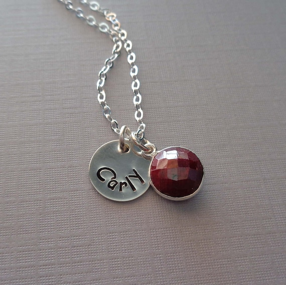 July Birthstone Necklace / Personalized Initial / Natural Ruby Jewelry / Gemstone Necklace