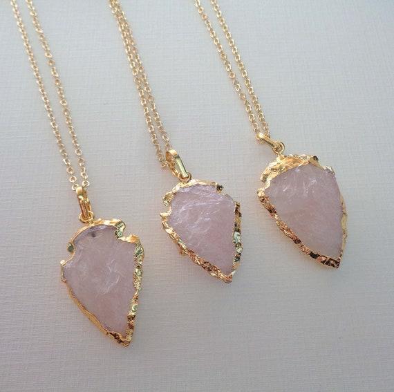 Rose Quartz Arrowhead Necklace / Pink Love Stone / Heart Chakra Stone / Crystal Arrowhead Gold