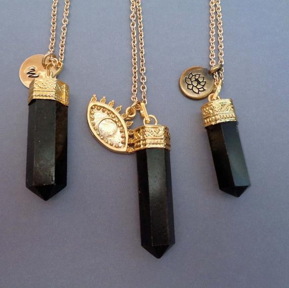 Black Tourmaline Gold Necklace / Protection Stone / Evil Eye Charm / Custom Initial / Lotus Charm