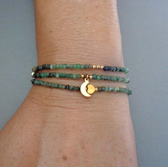 Emerald Wrap Bracelet / Genuine Shaded Emerald / May Birthstone Jewelry / Green Gemstone Wrap Bracelet