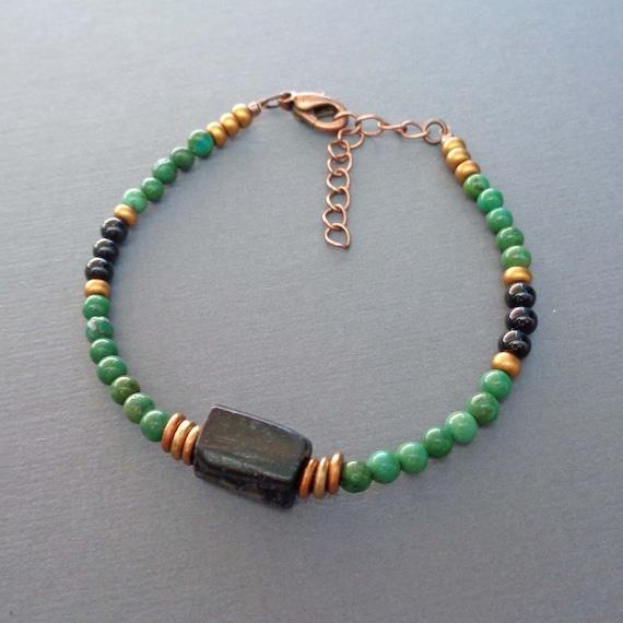 Black Tourmaline & Green Turquoise Beaded Bracelet / Powerful Protection Stones / Empath Gift / Green Turquoise