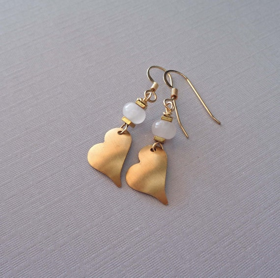 Valentines Day Heart Earrings / Rose Quartz Gold Heart Earrings / Heart Jewelry / Gift of Love and Friendship