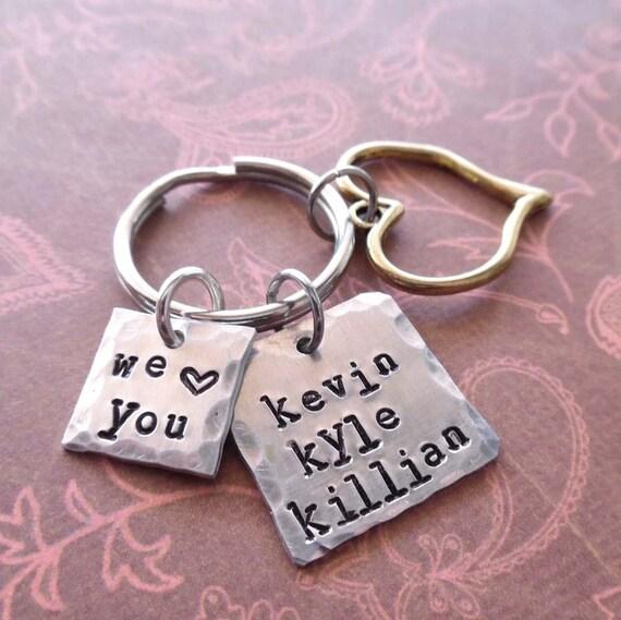 We Love You Square Keychain - Custom Personalized Names Keychain- Square Keychain Love Aunt Grammy Mom