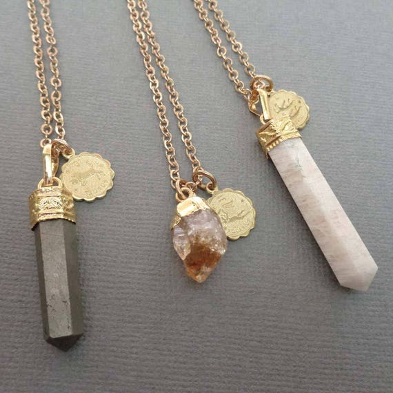 Zodiac Necklace - Your Sign Necklace - Astrology Gift - Zodiac Jewelry- Citrine Pyrite Amethyst Moonstone