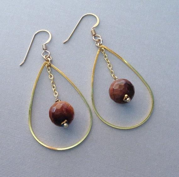 Tiger Eye Teardrop Hoop Earrings / Large Tiger Eye Hoop / Gemstone Hoop Earrings / Tiger Eye Jewelry