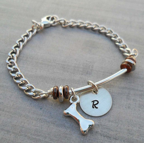Dog Bone Bracelet - Pet Bracelet with Initial - Personalized Pet Initial Bracelet