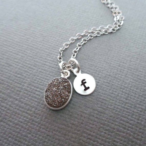 Small Gray Druzy Necklace Personalized Initial / Platinum Silver Jewelry / Tiny Sparkly Oval Stone Necklace