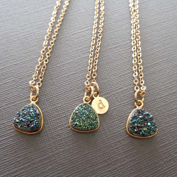 Green Druzy Personalized Initial Necklace / Gold and Green Jewelry / Green Wedding Bridesmaid Gift