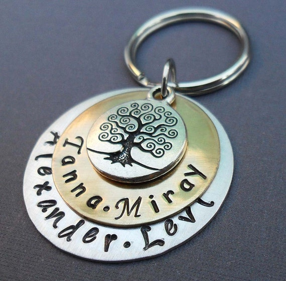 My Family Keychain - Tree of Life and Names - Hand-Stamped Personalized Keychain- Personalized Family Keychain
