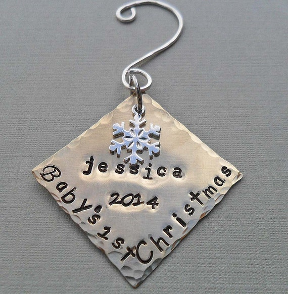 Baby's First Christmas - Personalized Ornament - Snowflake- Baby Xmas Custom Ornament - X01