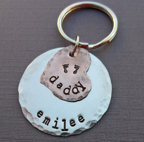 New Daddy Keychain - New Father Dad - Personalized Name - Hand-Stamped Metal Keychain