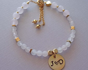 Personalized Rose Quartz Bracelet / Love Stone Custom Initials Gift / Valentines Gift / Personalized Rose Quartz Jewelry