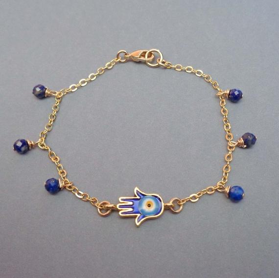 Dainty Gold Hamsa Bracelet / Hand of Fatima / Evil Eye Protection Jewelry / Gold Lapis Lazuli