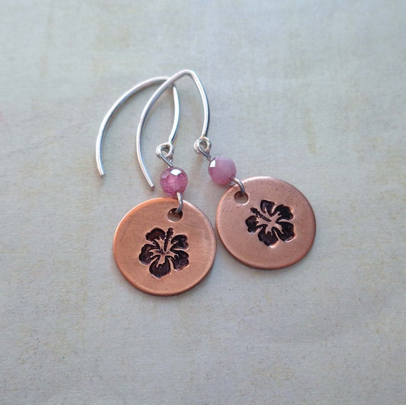 Flower Earrings - Hand-stamped Hibiscus on Copper - Sterling Silver Ear wires - Spring Fashion - Floral Jewelry