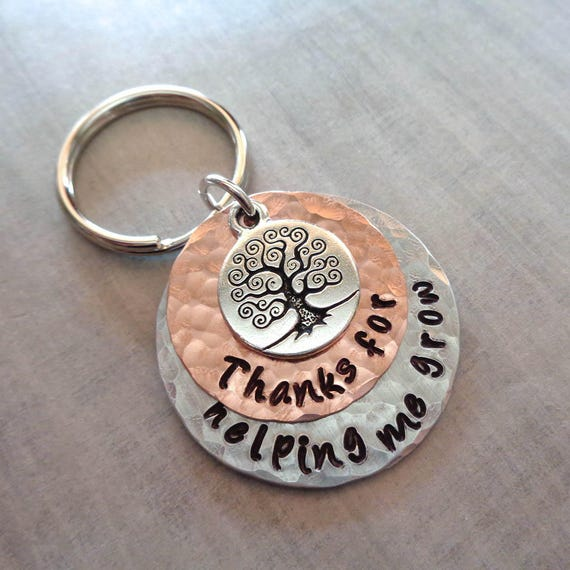 Graduation Teacher Gift Keychain- Thanks for helping me Grow-Teacher Gift-Thank you Teacher-Back to School- Personalized Keychain