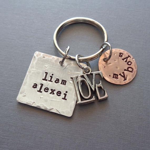 My Boys Keychain - Love My Girls Personalized Mom Gift - Love My Kids Custom Name Keychain