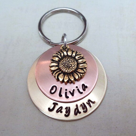 Sunflower Keychain - You are My Sunshine - Personalized Names Date Keychain - Rustic Wedding Gift - Symbol of Friendship Happiness
