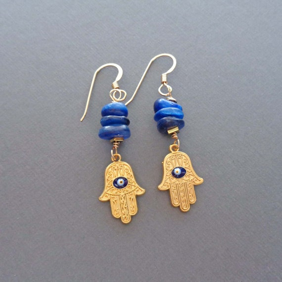 Hamsa & Blue Kyanite Stack Earrings / Gold Hand of Fatima Drops / Hamsa Protection Good Luck Earrings