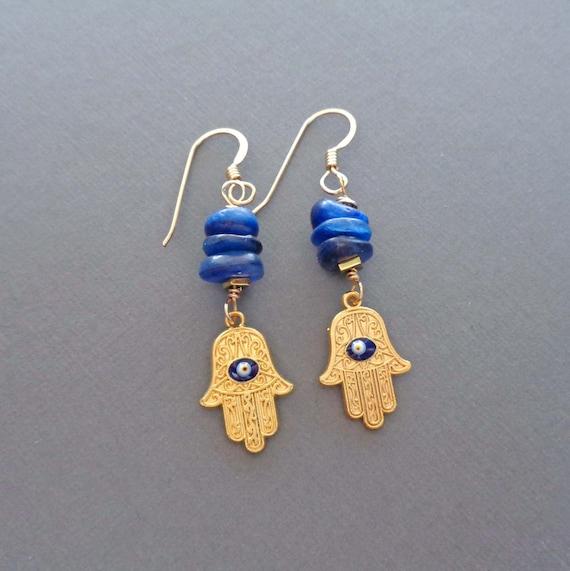 Hamsa & Blue Kyanite Stack Earrings / Gold Hand of Fatima Drops / Hamsa Protection Good Luck Earrings