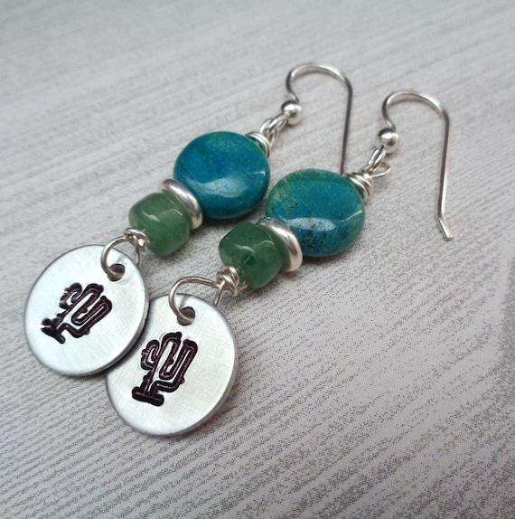 Silver Cactus Chrysocolla Aventurine Earrings / Southwestern Cactus Lover Gift / Cactus Jewelry