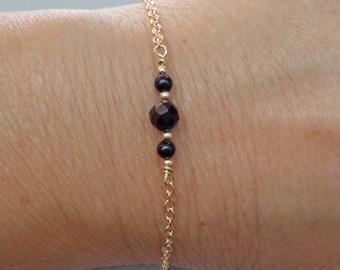 Dainty Protection Bracelet / Black Tourmaline Gold-fill Bracelet / Empath Protection Jewelry / Minimalist Tourmaline Jewelry