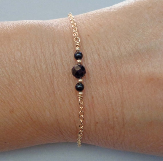 Dainty Protection Bracelet / Black Tourmaline Gold-fill Bracelet / Empath Protection Jewelry / Minimalist Tourmaline Jewelry