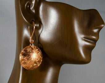 Textured Copper Disc Earrings