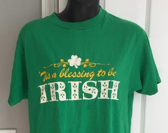 Vintage 1980s 'Tis a Blessing to be Irish t-shirt Hanes 50/50 great st. patrick's day tee