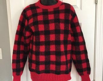 WOOLRICH vintage 1980s buffalo plaid checker sweater medium