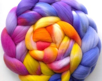 Roving Targhee Handdyed Combed Top - Bird of Paradise, 5.4 oz.