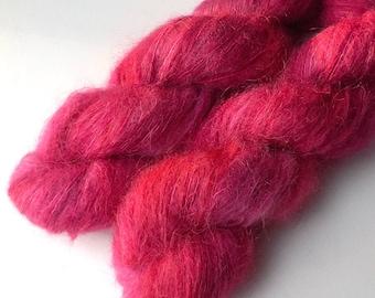 Silky Suri Baby Alpaca and Silk Handdyed Lace Yarn, Glamour Red