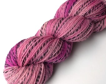 Hand Dyed Sock Yarn Marled Twist 100% Natural Wool, Pink Phylox